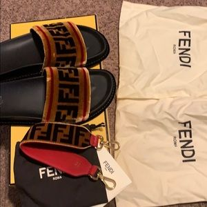 Authentic Fendi Slides w/ matching strap